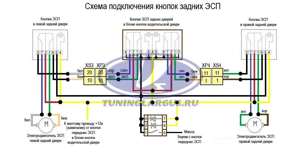 Схема задних ЭСП в блоке 31105